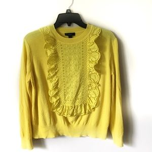 J. Crew Lace Embroidery Yellow Knit Top